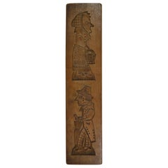 Double-Sided Wooden Gingerbread Mold, Man and Woman