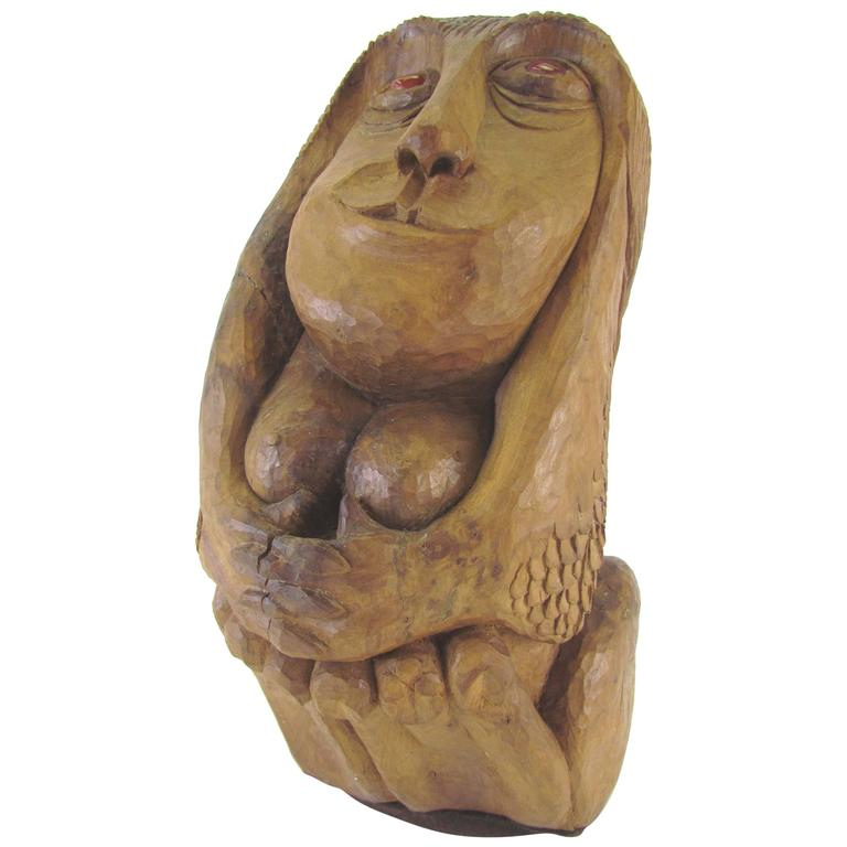 Carved Wood Mid-Century Sculpture of a Female Form by Diane Derrick