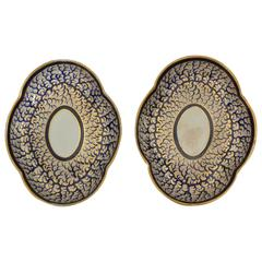Pair Derby Blue and Gold Plates