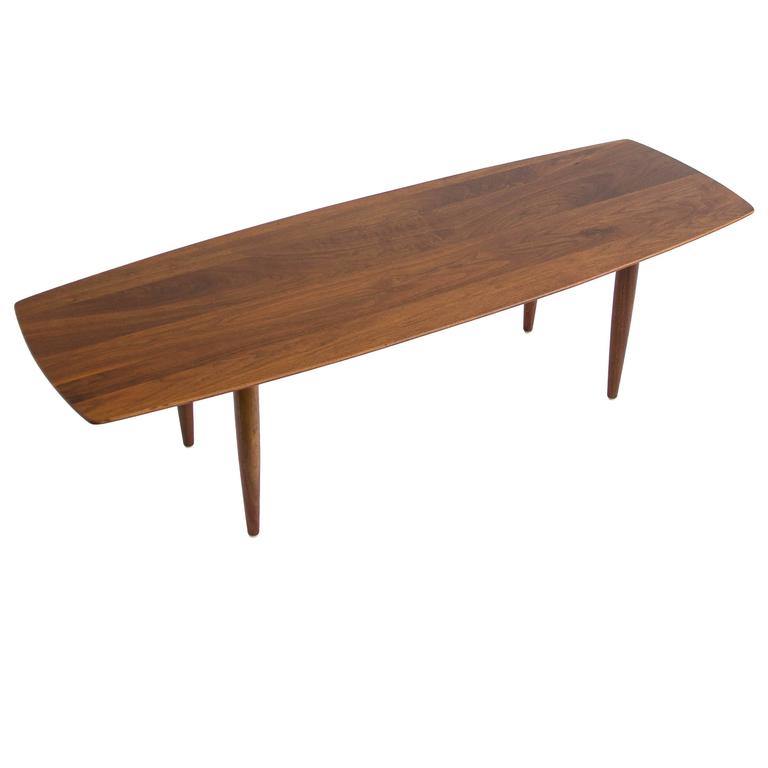 American Made Solid Walnut Surfboard Coffee Table By Prelude At 1stdibs