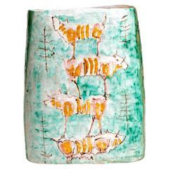 Rare 1940s Italian Double-Sided Ceramic Vase by Ed Langbein
