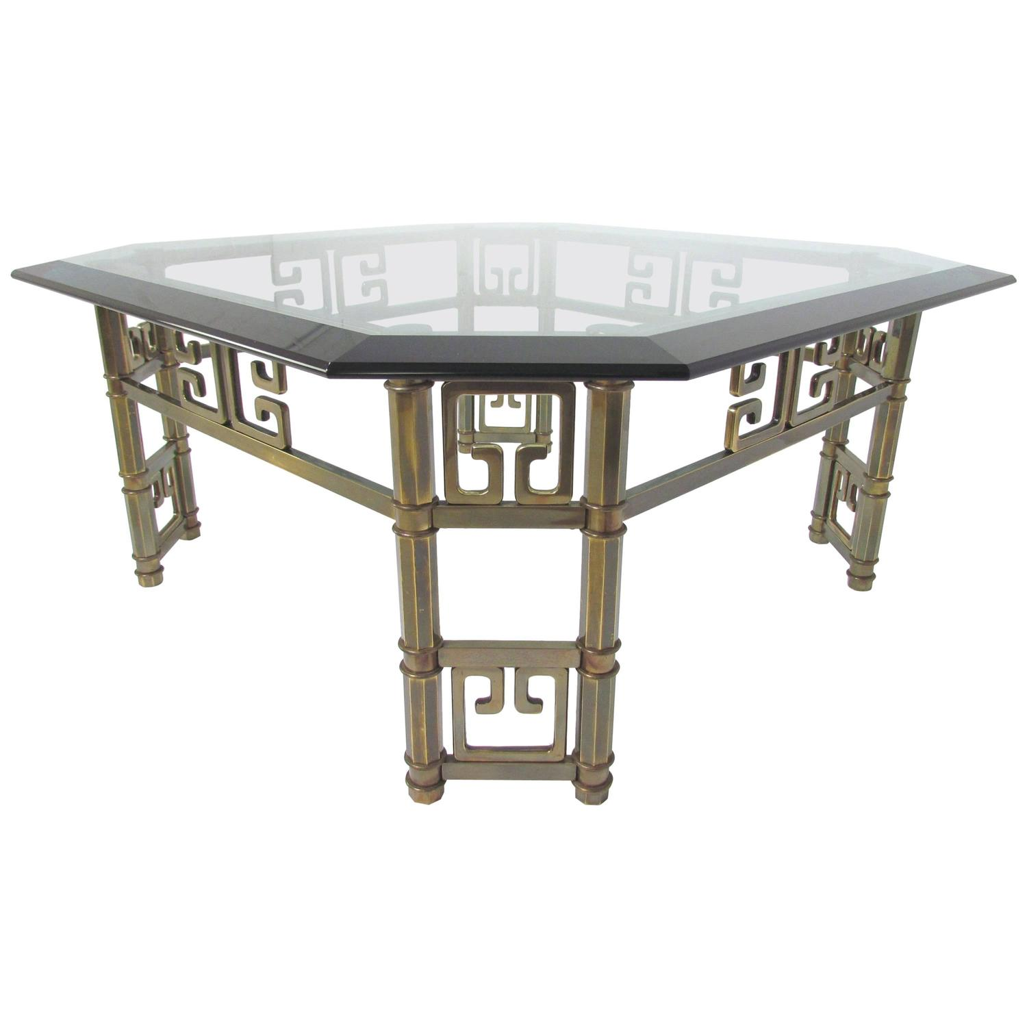 Mastercraft Coffee Table In Brass With Greek Key Motif And