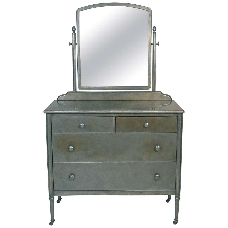 Vintage Steel Dresser With Mirror At 1stdibs