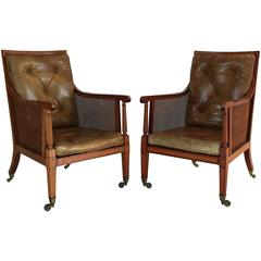 Pair of English Caned Library Bergere Chairs