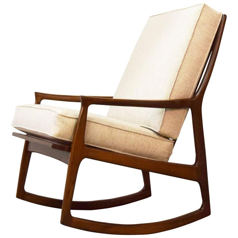 Milo Baughman Archie Walnut Rocking Lounge Chair at 1stdibs