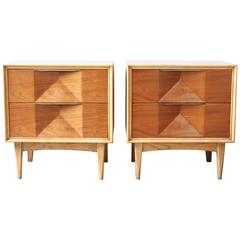 Mid-Century Sculptural Walnut Nightstands