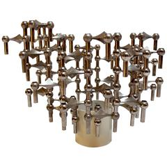 1960s 40-Piece Stackable Candlestick Sculpture by Fritz Nagel and Caeser Stoffi
