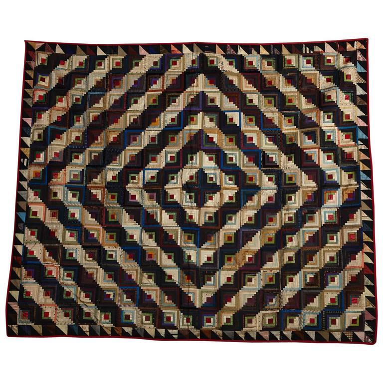 Antique Log Cabin Barn Raising Pieced Silk Quilt