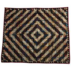 Antique Log Cabin Barn Raising Pieced Silk Quilt