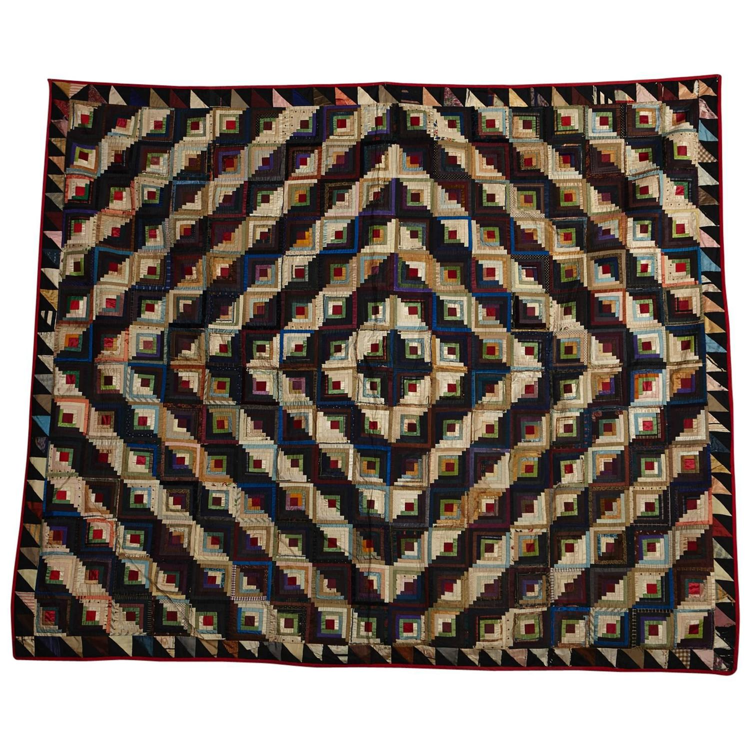 Very Impressive portraiture of Antique Log Cabin Barn Raising Pieced Silk Quilt For Sale at 1stdibs with #1C3960 color and 1500x1500 pixels