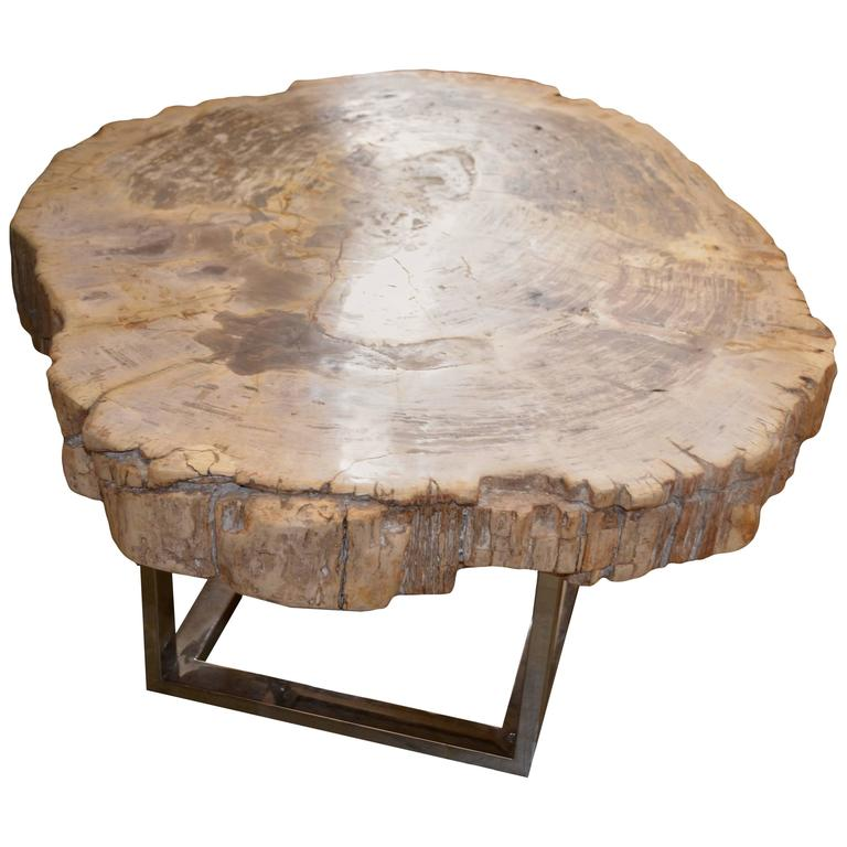 Vintage Burled Cypress Wood Live Edge Side Table At 1stdibs: Petrified Wood Slab Table For Sale At 1stdibs