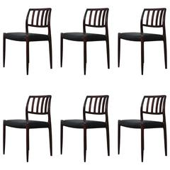 Set of Six Niels Otto Møller Rosewood Dining Chairs Model 83