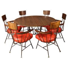 Richard McCarthy Dining or Game Table and Six Captains Armchairs