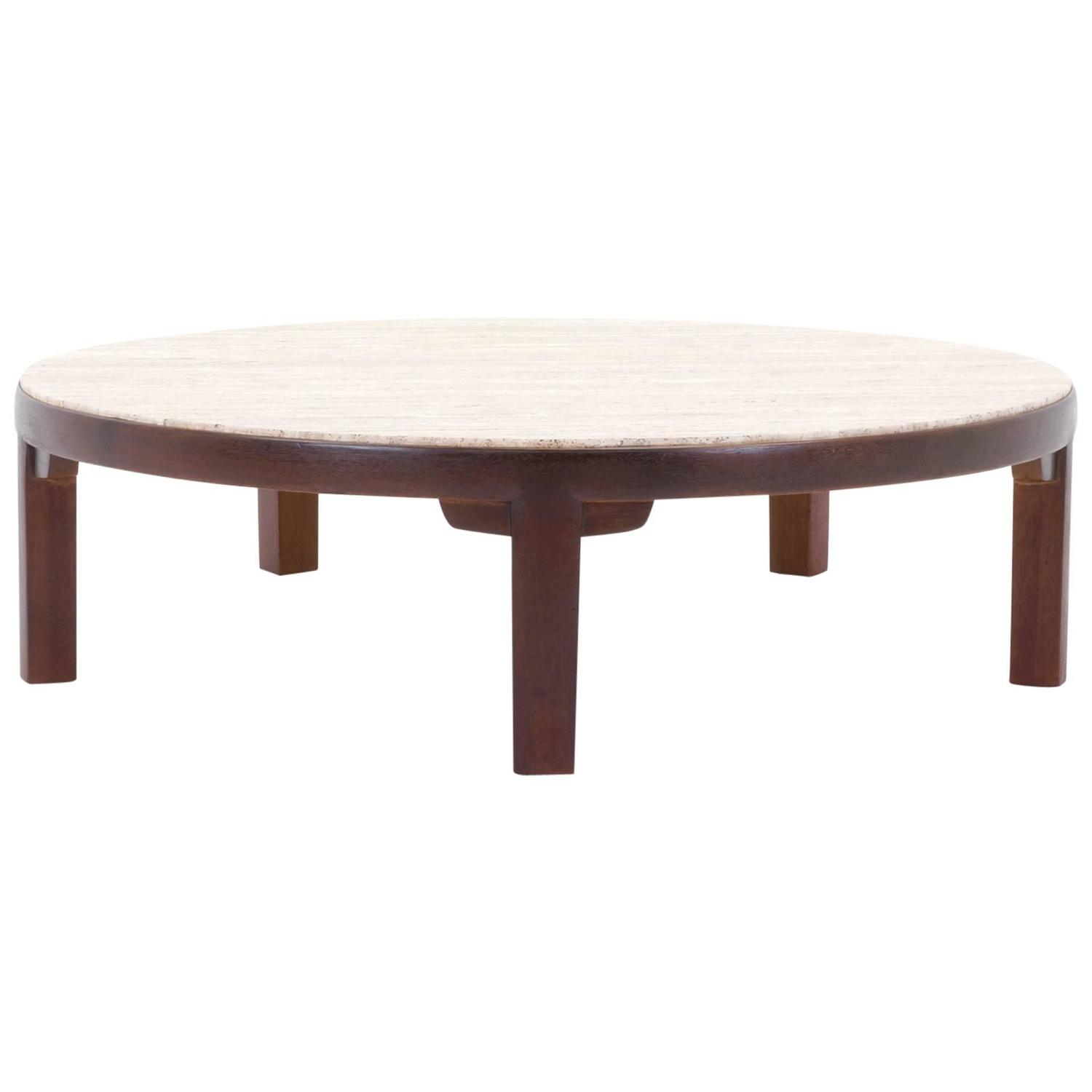Edward Wormley For Dunbar Round Coffee Table With Travertine Top At 1stdibs