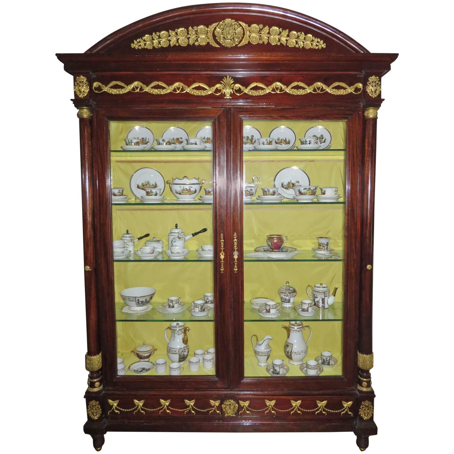 new orleans empire style mahogany display cabinet adorned with fine ormolu at 1stdibs. Black Bedroom Furniture Sets. Home Design Ideas
