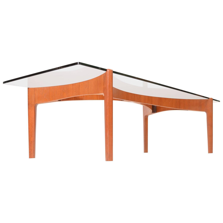 Teak And Glass Coffee Table Sven Ellekaer Teak And Glass Coffee Table At 1stdibs