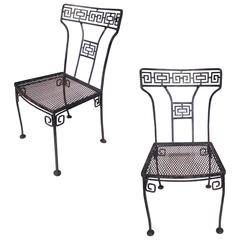 Pair of Greek Key Iron Chairs, circa 1960