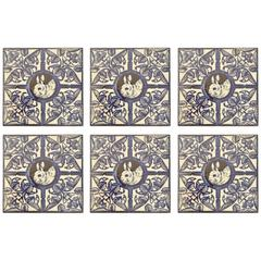 Collection of Six Blue and White British Wall Tiles, circa 1885-1900