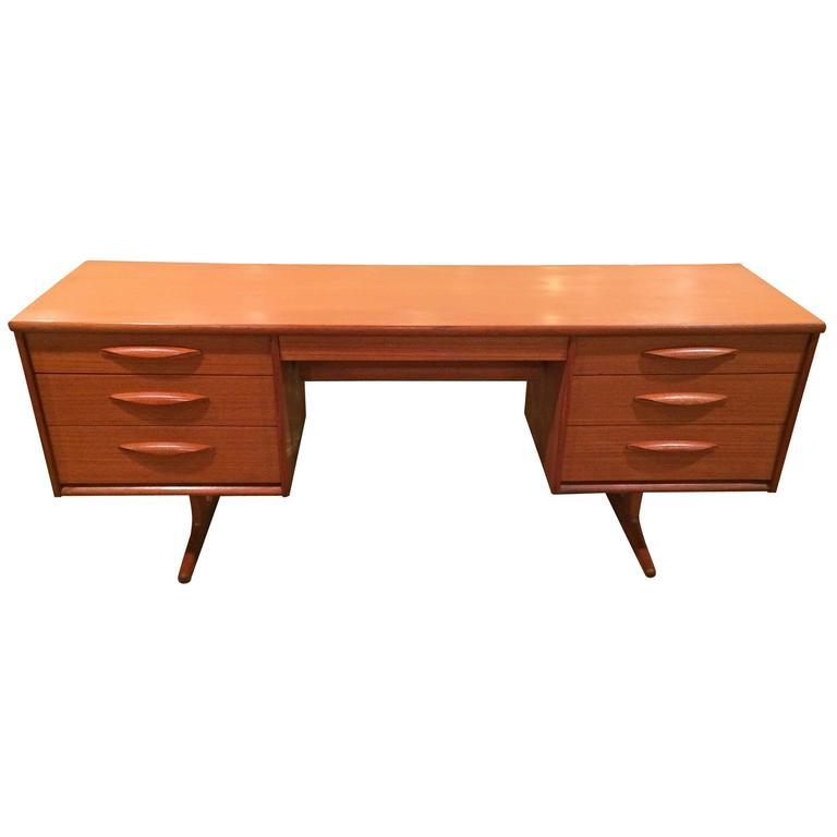 Danish Mid-Century Modern Floating Teak Desk or Vanity 1