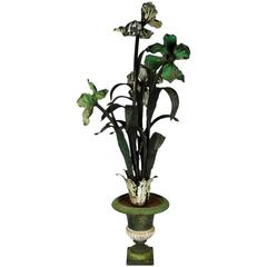 Antique French Iron Plant Flower Sculpture Centerpiece, circa 1880