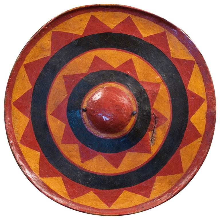 Early 20th Century Painted Hide Shield from Southwestern China