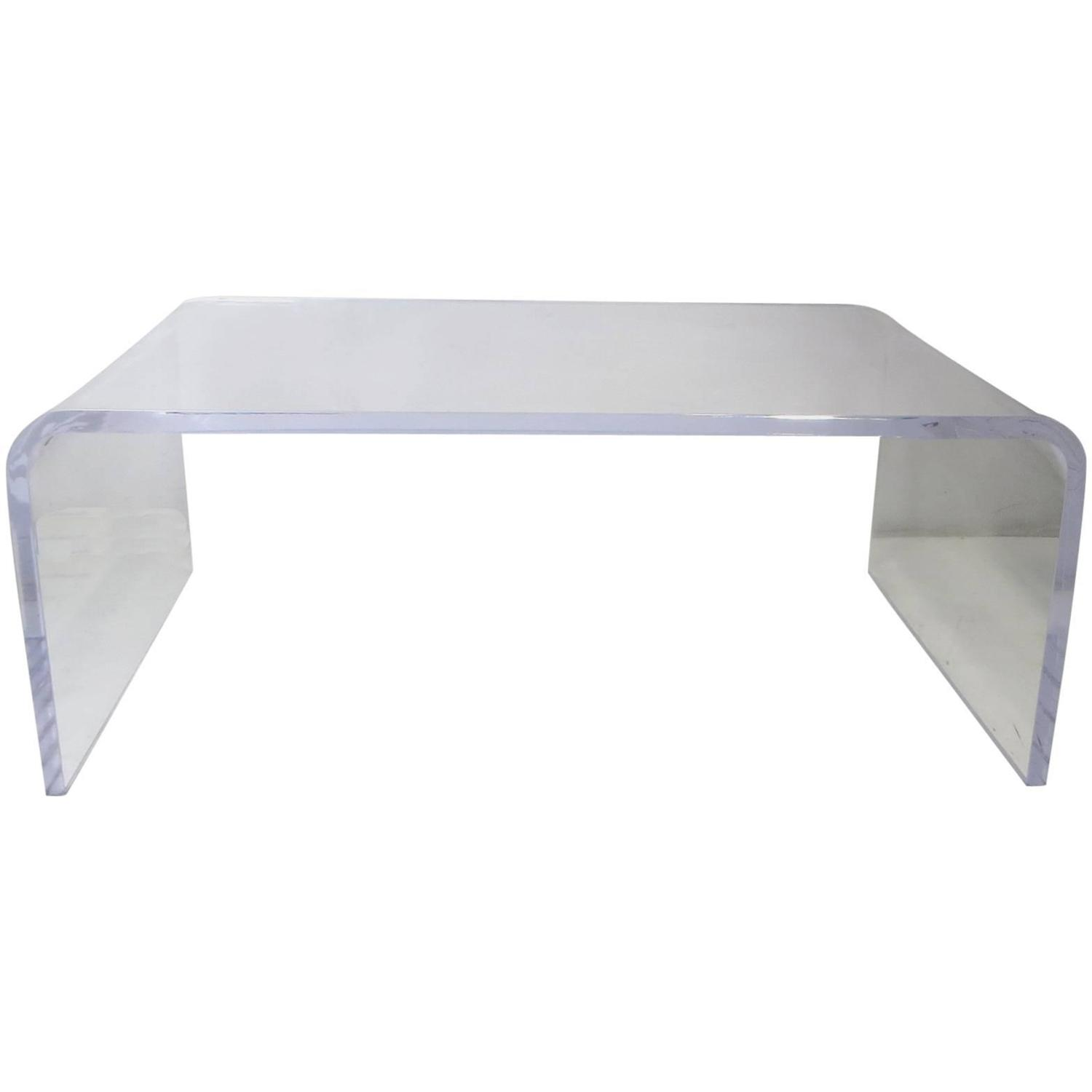 thick lucite waterfall coffee table at 1stdibs