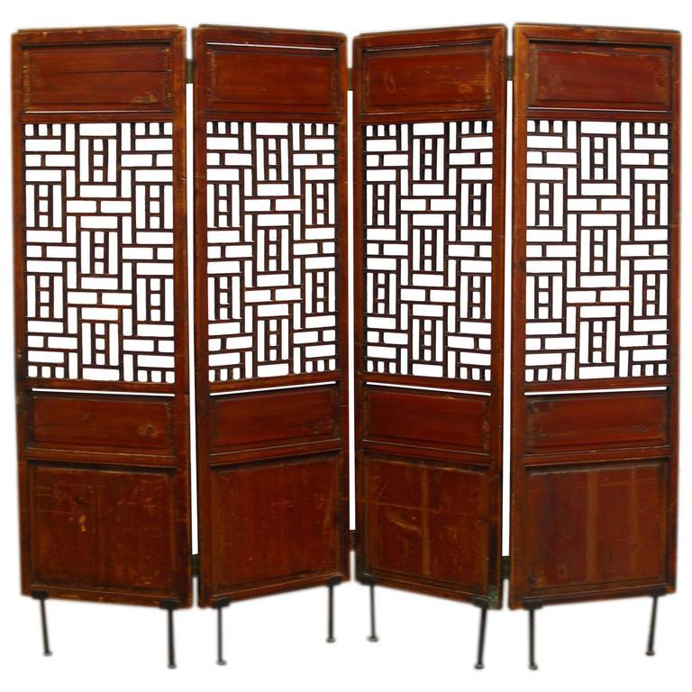 19th Century Chinese Lattice Panel Screen