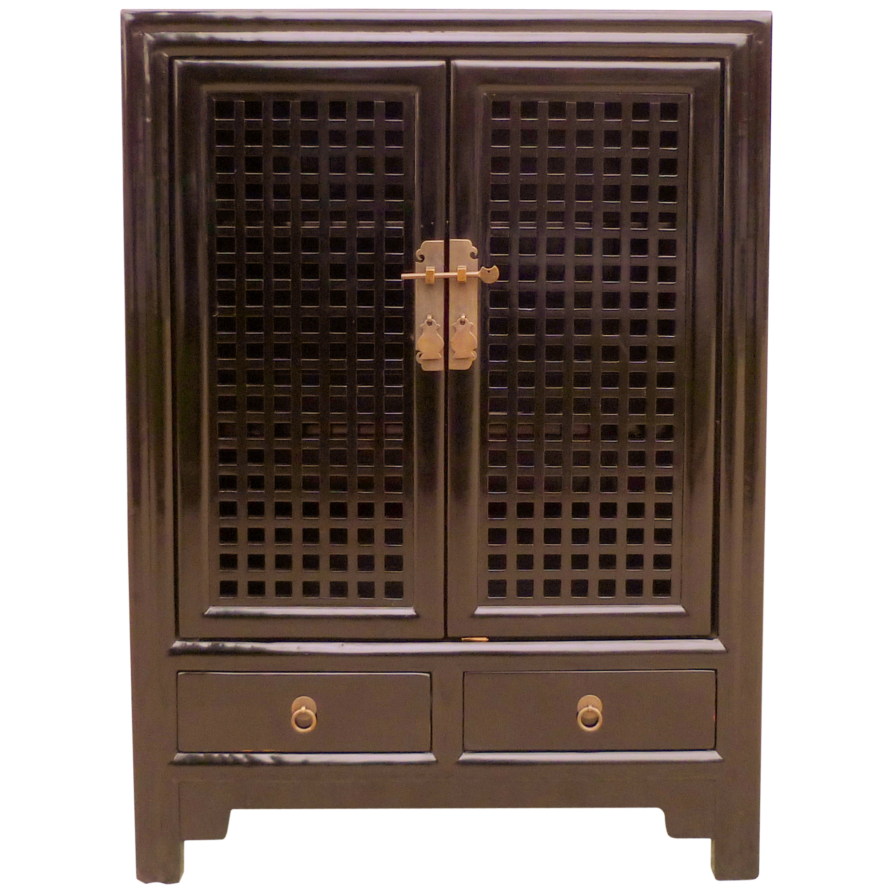 Excellent Fine Black Lacquer Chest With Lattice Fret Work Doors Gmtry Best Dining Table And Chair Ideas Images Gmtryco