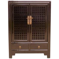 Fine Black Lacquer Chest with Lattice Fret Work Doors