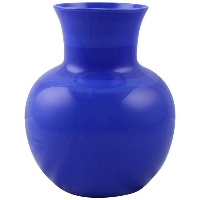 Venini Incalmo Two-Tone Blue Italian Art Glass Vase for Vetri Murano, 1983