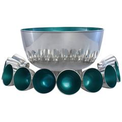 Outstanding Towle Sterling Silver Mid-Century Modern Enameled Punch Bowl Set