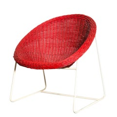 Jacques Adnet Inspired Red Woven Rattan and Wire Hoop Chair