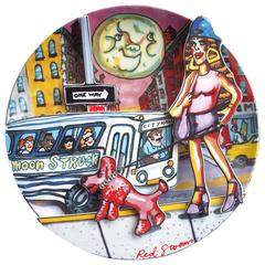 Red Grooms, 2500 Limited Edition Porcelain Plate, Titled Moonstruck, 1994