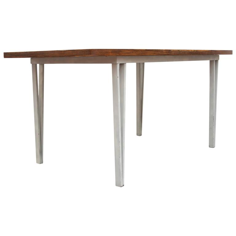 Modern Rosewood Bowed Top Dining Table With White Geometric Metal