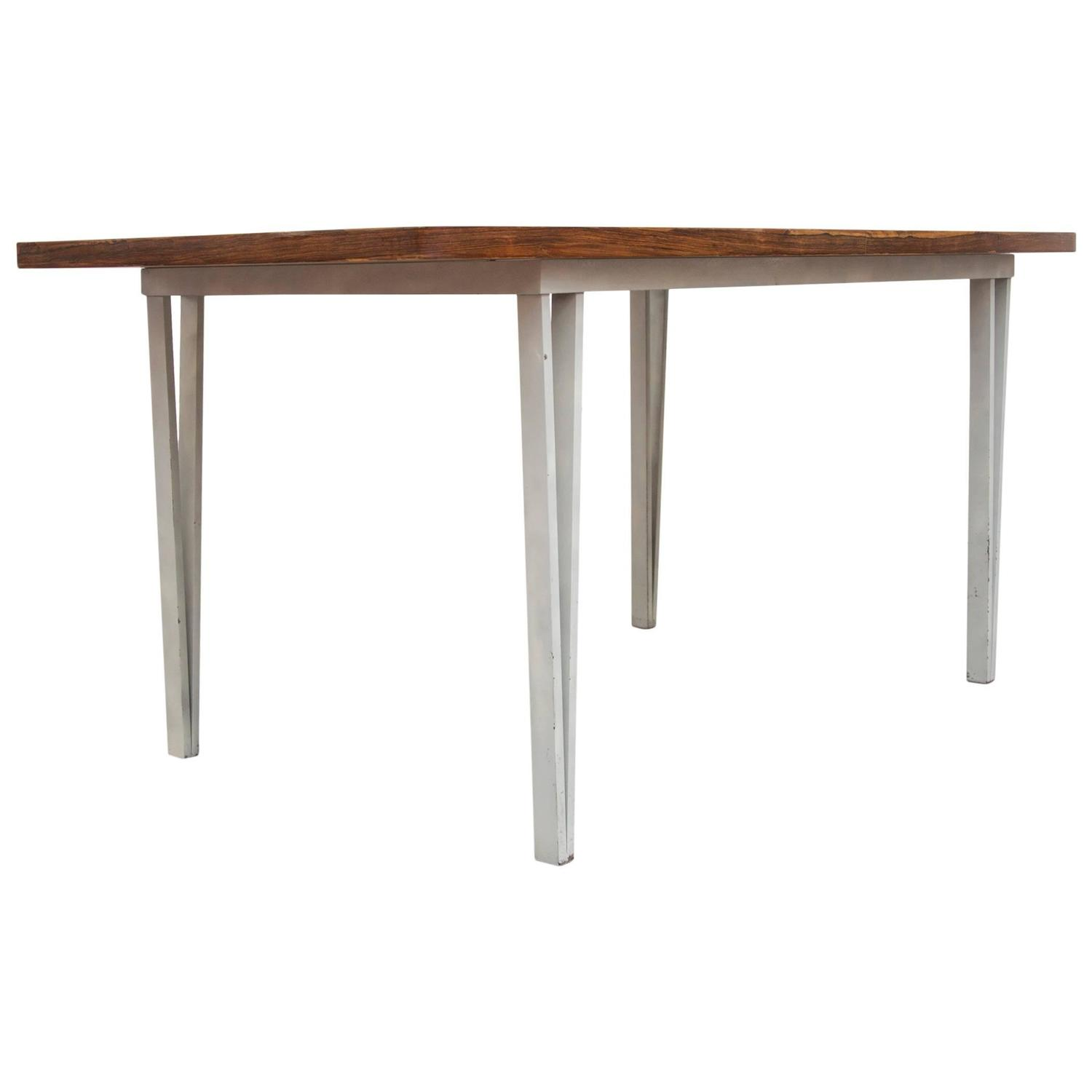 Modern Rosewood Bowed Top Dining Table with White Geometric Metal ...