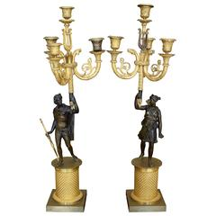 Pair of French Charles X Period Ormolu and Painted Bronze Four-Light Candelabra