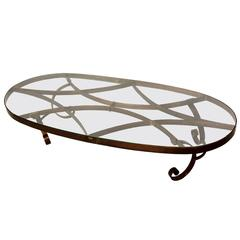 Mexican Modernist Oval Coffee Table in Brass