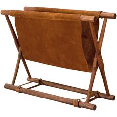 Vintage Leather Folding Magazine Rack