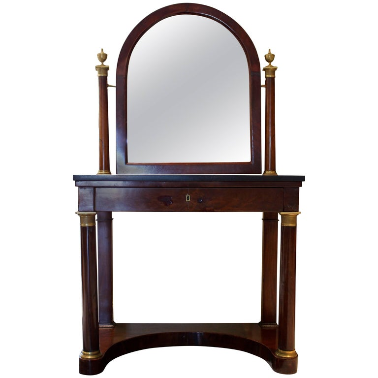French Empire Ormolu-Mounted Mahogany Dressing Table with Arched Tilted Mirror For Sale