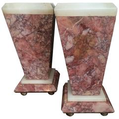 Red Marble Bookends or Decorative Urns