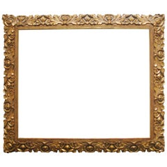 19th Century Carved Giltwood and Gesso Frame