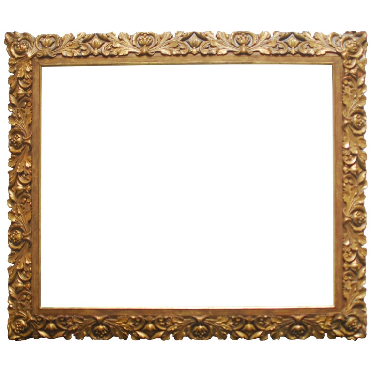 19th Century Carved Giltwood and Gesso Frame For Sale