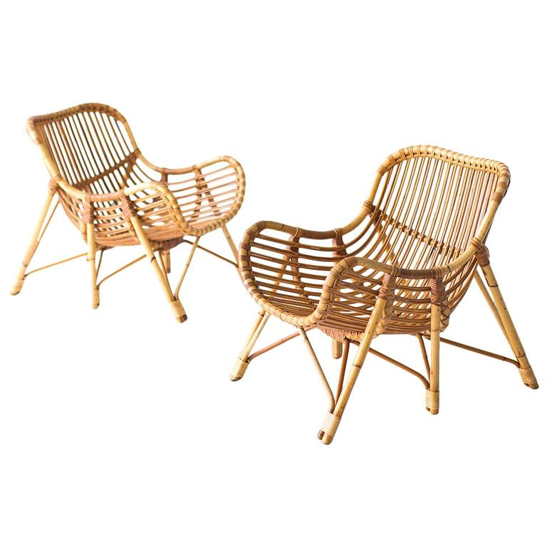 Danish Bamboo and Wicker Lounge Chairs by Laurids Lonborg