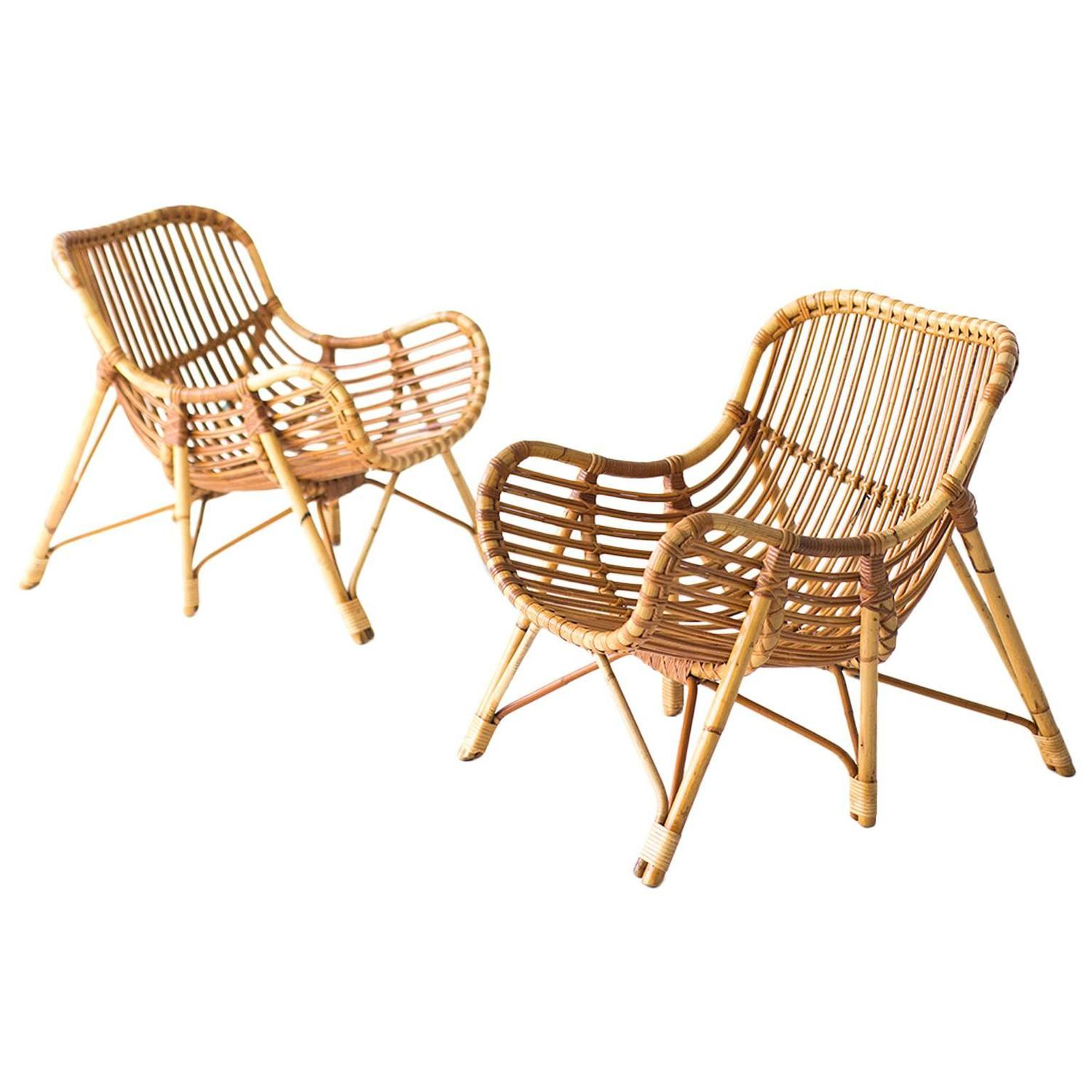 Danish Bamboo And Wicker Lounge Chairs By Laurids Lonborg For Sale At  1stdibs
