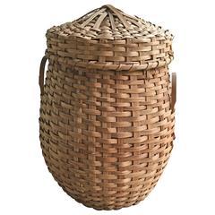 Vintage Woven Basket with Peaked Lid and Splint Handles