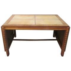 French Cerused Oak and Parchment Writing Desk