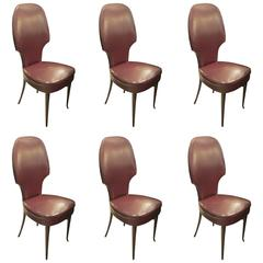Set of Six Sculptural Italian High Back Dining Chairs