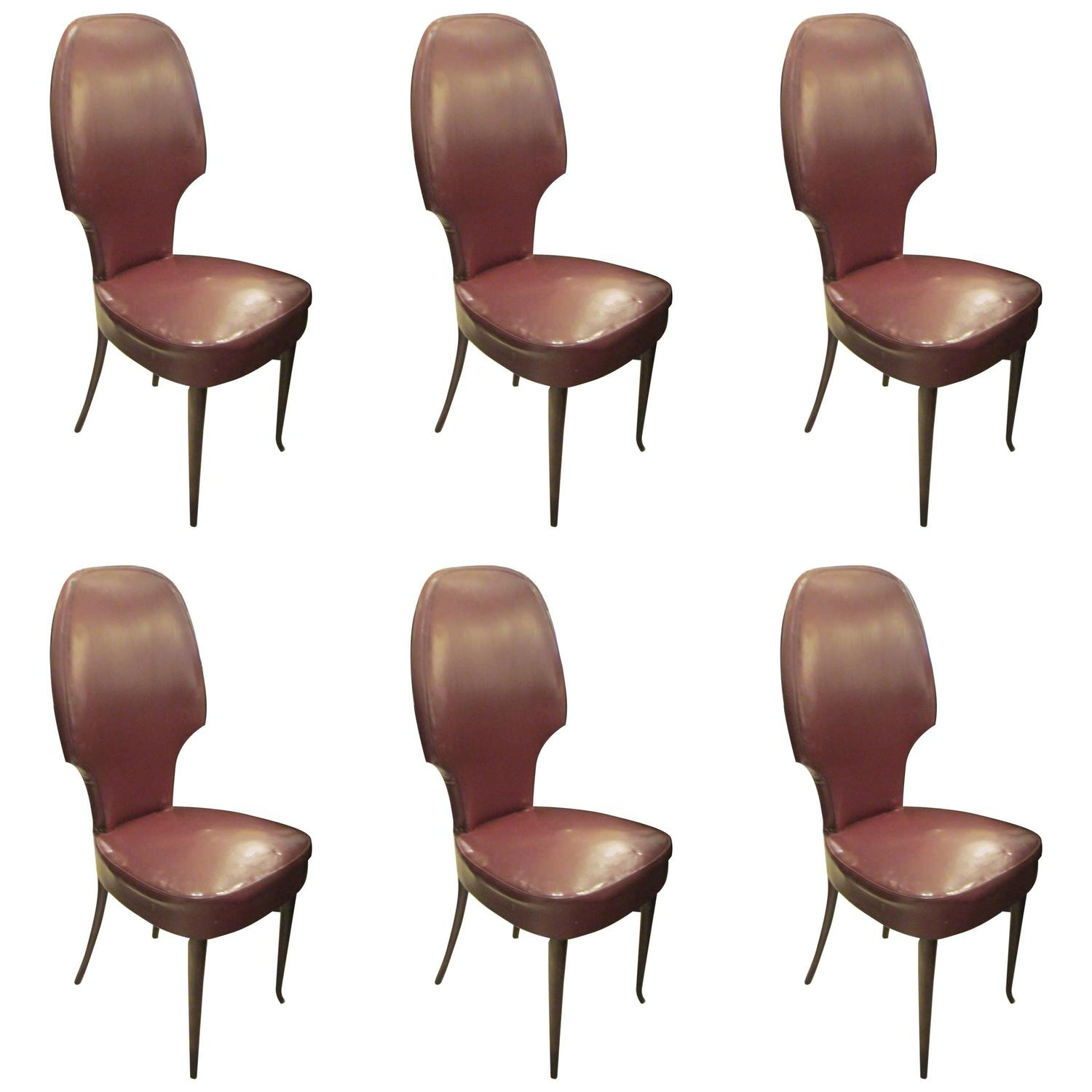 Set Of Six Sculptural Italian High Back Dining Chairs For Sale At 1stdibs