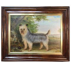 """R. Hutchison """"Yorkie Wit Ball"""" Oil Painting"""