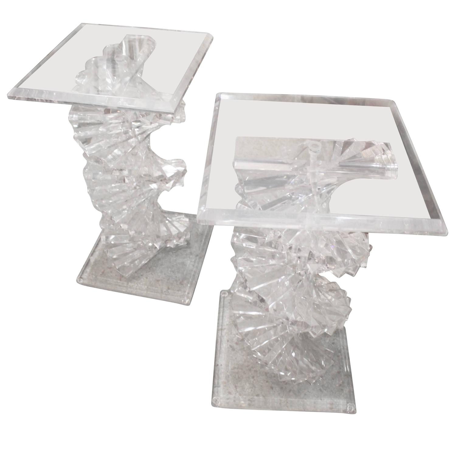 pair dna spiral lucite dining table desk console bases pedestals
